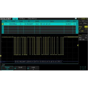 Software SIGLENT SDS-2000X-DC para decodificar señales IIC, SPI, UART/RS232, CAN, LIN